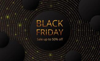 Black Friday försäljning erbjudande banner affisch mall med cirkel guldprick glitter vektor