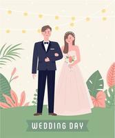 Bröllopspar som står utanför vektor