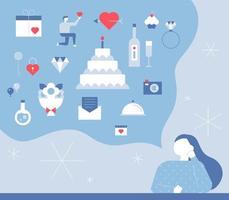 Kvinna som föreställer romantiska gåvor för alla hjärtans dag