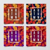 Satz des Herbstverkaufsangebotfahnengrußkarten-Schablonenrahmens