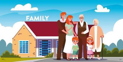 Familj framför huset
