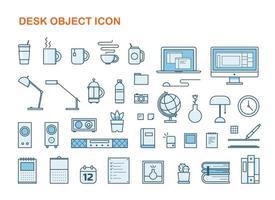 Konturstil skrivbord objektuppsättning