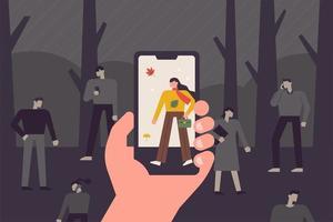 Hand som tar bilder med en mobiltelefon. Svartvitt foto med färgbild på skärmen. vektor