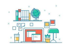 Skrivbord med laptop i dispositionsstil