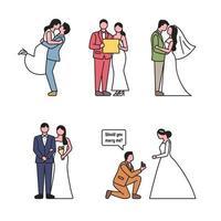 Teckenuppsättning för bröllopspar i konturstil