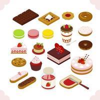 Süßes Kuchen-Sammlungs-isometrisches Design