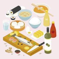 Samling av olika asiatiska livsmedel. vektor