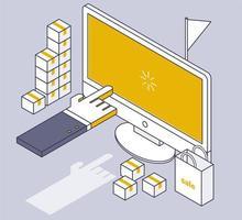 Webbshopping linje ritning isometrisk design