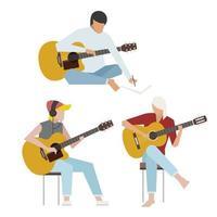 Gitarrister som spelar akustiska gitarrer. vektor