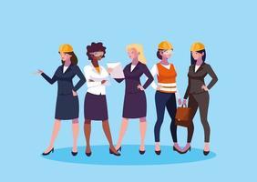 Uppsättning av kvinnliga ingenjörer på jobbet