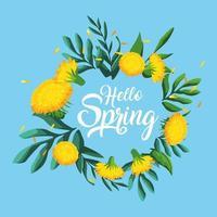 Hallo Frühlingskarte mit schönen Blumen vektor