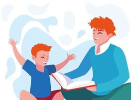 Vater mit Sohn lesen