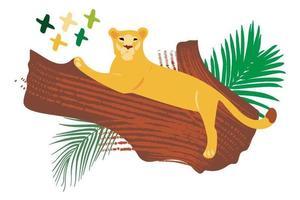 Vector handritad platt sammansättning med lejon på träd