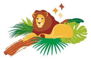 Vector handritad platt sammansättning med lejon och träd