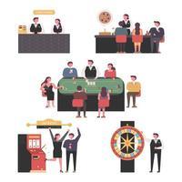 Kunden, die verschiedene Casinospiele genießen vektor
