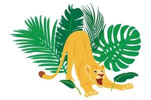 Handritad platt sammansättning med lejonet