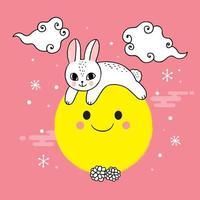 Söt mitten av hösten kanin- och månvektor.