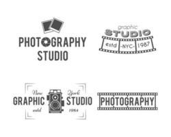 Vintage fotografilogotyper vektor