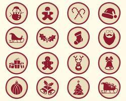 Jul-, vinteremblem och designelement med semestersymboler vektor