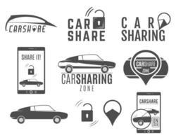 Car Share Logo-Designs festgelegt vektor