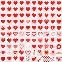 Samling av 99 olika hjärtan. vektor