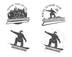 Uppsättning av Winter Snowboarding logotyp, etikettmallar och element vektor