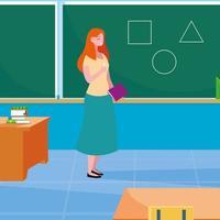 lärarkvinnlig i klassrummet med svarta tavlan