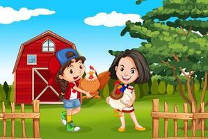 Två flickor och kyckling i gården