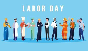 arbetsdagfirande med yrkesgrupper