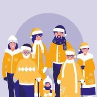 grupp av familjen redo för snön