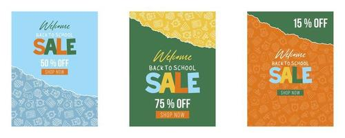 Uppsättning av Tillbaka till skolan, skolan levererar affischmallar