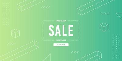 Gradient minimalistischen grünen Verkauf Banner vektor