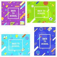 Uppsättning av Tillbaka till skolan, skolan levererar affischmallar vektor