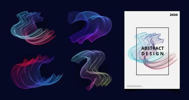 Abstrakt blandning vektor färgglada tech linje konstverk täcka uppsättning