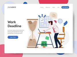 Affärsman som arbetar på deadlineillustrationbegrepp
