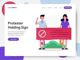 Protestierender, die Zeichen-Illustrations-Konzept halten