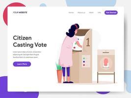 Landningssidamall för medborgare som väljer kandidat- eller röstillustrationsbegrepp. Modern designbegrepp av webbsidesdesign för webbplatsen och mobilwebben. Vektorillustration EPS 10