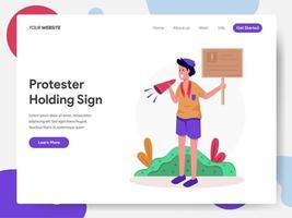 Protestera innehav teckenillustration koncept vektor