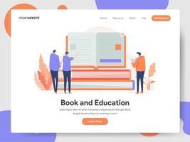 Bok- och utbildningsillustrationbegrepp vektor