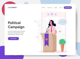 Weiblicher Politiker Campaign auf Podium-Illustrations-Konzept