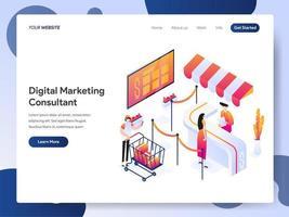 Landningssidamall för isometrisk illustration för digital marknadsföringskonsult. Modern designbegrepp av webbsidesdesign för webbplatsen och mobilwebben. Vektorillustration EPS 10
