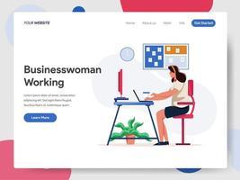 Geschäftsfrau, die an Schreibtisch-Illustrations-Konzept arbeitet vektor