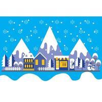 Platt stil vinterstadslandskapbakgrund