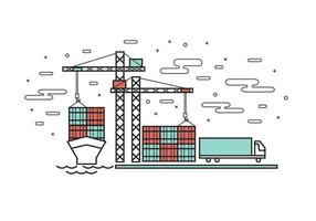 Platt linje design av containerfartyg vid industrihamnen vektor