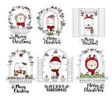 Söta djur med god jul i festliga fönsterramar vektor