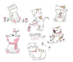 Uppsättning av söta lyckliga katter i handritad stil vektor