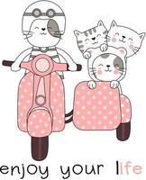 Genießen Sie Ihre Lebenstiere auf Motorrad mit Beiwagen-Hand gezeichneter Karte vektor