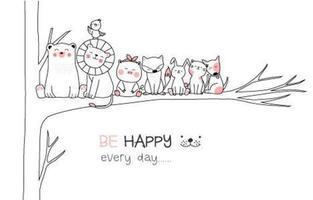Var lycklig varje dag handritad kort vektor