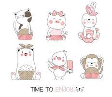 Tierbabys mit Süßigkeiten handgezeichneten Set