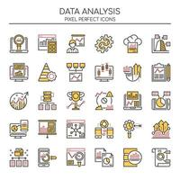 Reihe von Duotone Color Data Analysis Icons vektor